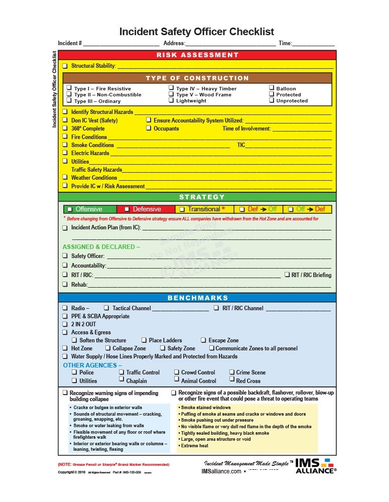 Incident Safety Officer Board Front
