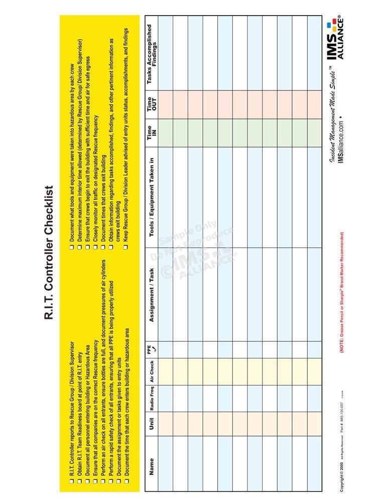 R.I.T. Controller Checklist Board Front