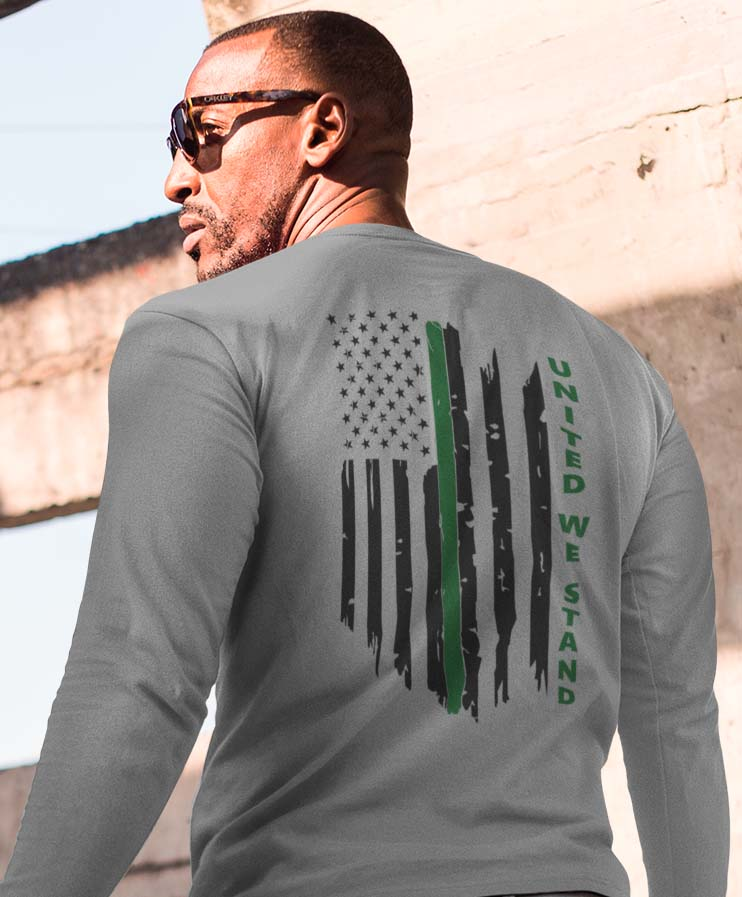 United We Stand (MILITARY) Men's Long Sleeve in Heather Grey