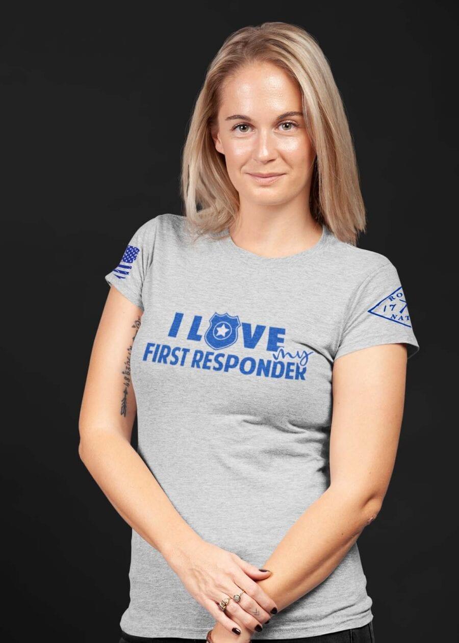 Love My Blue on Women's Light Heather Grey T-Shirt
